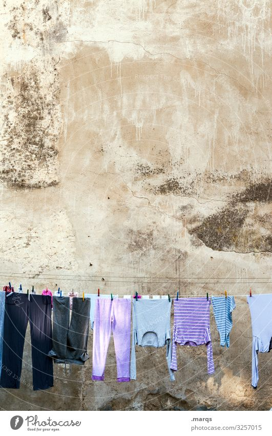 laundry Living or residing Clothing Clothesline Laundry Facade Morning Old building hang Washing day Hang up Arrangement Clean Cleaning Laundered Dry Fragrance
