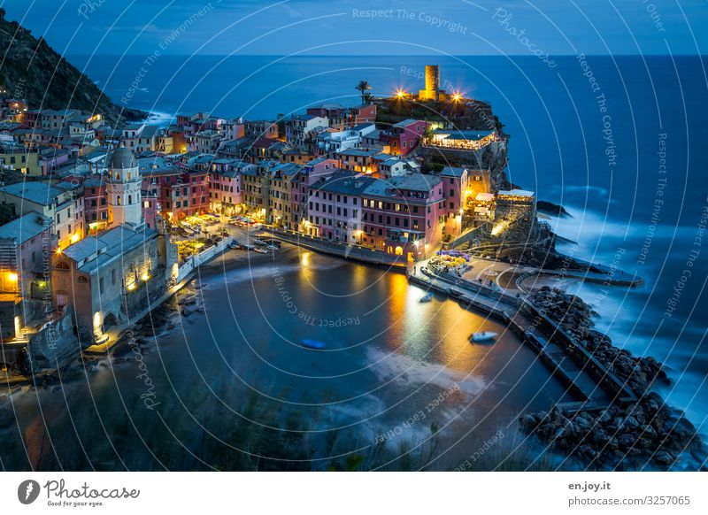luminescent Vacation & Travel Tourism Trip Sightseeing City trip Ocean Environment Night sky Horizon Coast Bay Cinque Terre Vernazza Liguria Italy Europe
