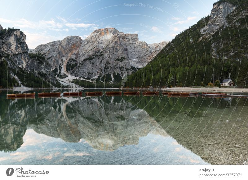 Sky Vacation & Travel Nature Landscape Mountain Tourism Lake Trip Church Idyll Italy Peak Clean Alps Lakeside Considerable