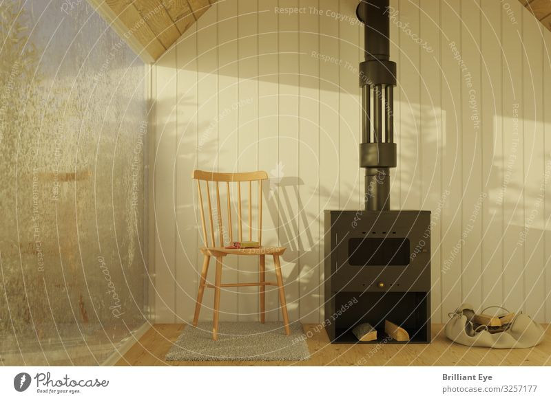 Cold outside, warm inside Lifestyle Vacation & Travel Winter Ice Frost Warmth Hut Simple Bright Relaxation Chalet Living room Fireside Chair Firewood Frozen
