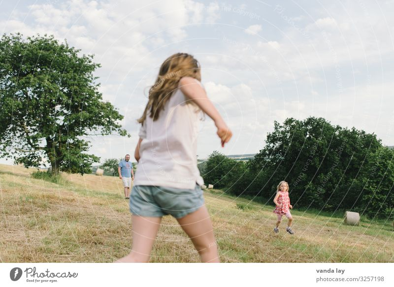 Children play on the meadow - Dad watches girlfriends Sisters Brothers and sisters Summer vacation holidays Sky Infancy Field Exterior shot Landscape