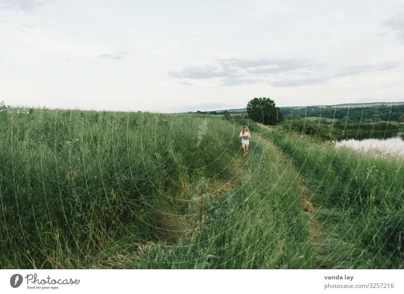 Girl alone on a dirt road Child Summer girl Sky Infancy Field Exterior shot Landscape Environment Beautiful weather 3 - 8 years Agriculture Sit Idyll Friendship