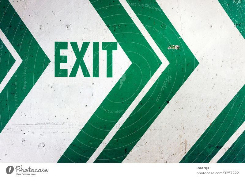 exit White Way out Escape route Highway ramp (exit) Fear Signs and labeling Characters Arrow Signage Emergency exit Direction Letters (alphabet) Green