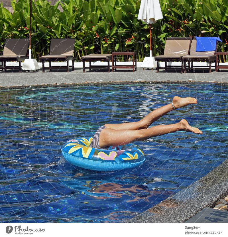 Human being Vacation & Travel Blue Water Summer Plant Girl Joy Feminine Playing Gray Swimming & Bathing Legs Jump Brown Infancy