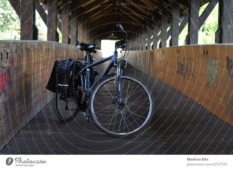 Bicycle with panniers in wooden bridge Beautiful weather hut Transport Passenger traffic Cycling Metal Vacation & Travel Blue Brown green Town bike excursion