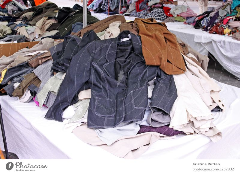 clothes flea market Shopping Style Fashion Clothing Shirt Pants Jacket Sell Retro Flea market second hand clothing donation old clothes Collection Donation