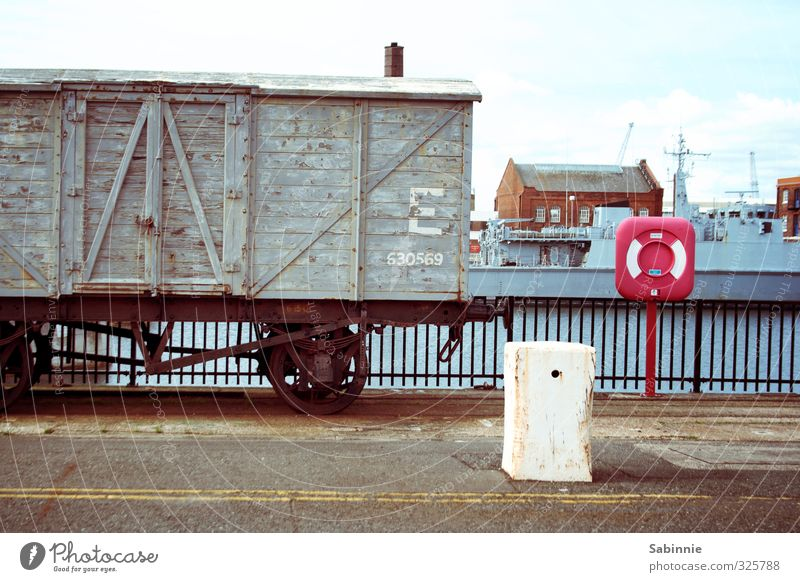 Old City Gray Transport Industry Logistics Railroad tracks England Port City Life belt Rail transport Railroad car Freight train Parked