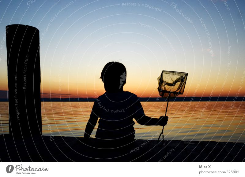 anglers Calm Leisure and hobbies Fishing (Angle) Vacation & Travel Summer vacation Sun Human being Child Toddler 1 Water North Sea Baltic Sea Ocean Lake Wait
