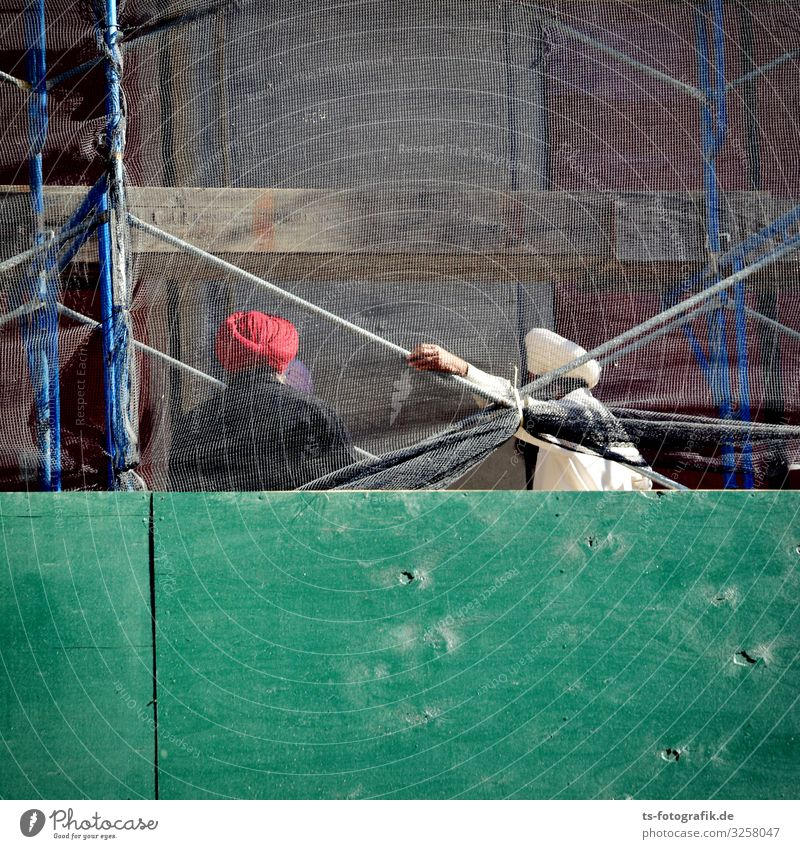 (T)Urban Art Craftsperson Construction worker Workplace Construction site Scaffold Human being Man Adults 2 Culture House (Residential Structure)