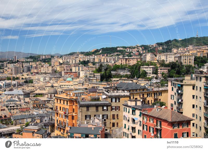 Genoa Tourism City trip Sky Clouds Genua Italy Port City Deserted House (Residential Structure) High-rise Building Wall (barrier) Wall (building) Facade Blue
