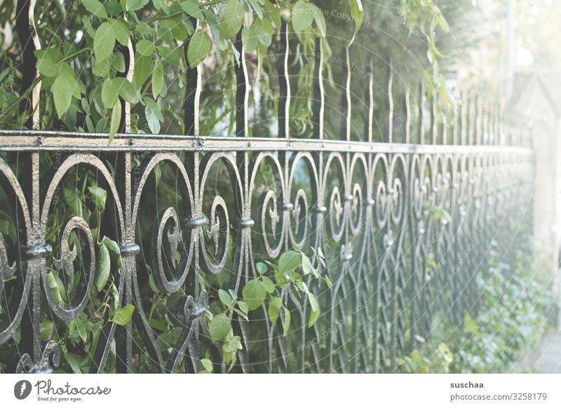 posh fenced Perspective Metalware Garden fence iron fence park fence Historic Elegant Rich Fence Possessions Protection Rescue Real estate Wrought iron Rustic
