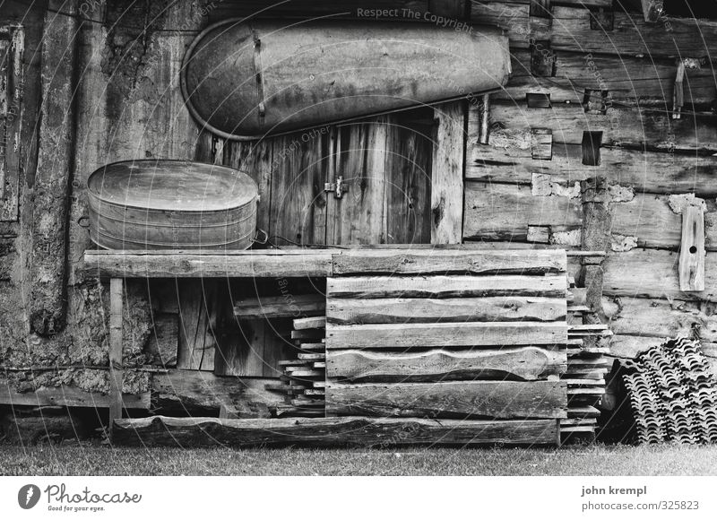 Relaxation Loneliness Life Senior citizen Wood Facade Authentic Poverty Gloomy Bathtub Transience Change Retro Protection Historic Peace