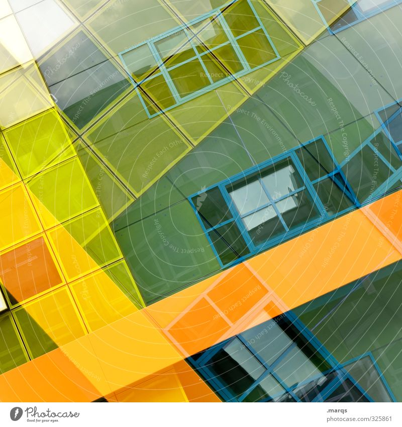 Blue Green Colour House (Residential Structure) Window Yellow Style Line Facade Design Elegant Modern Crazy Future Stripe Cool (slang)