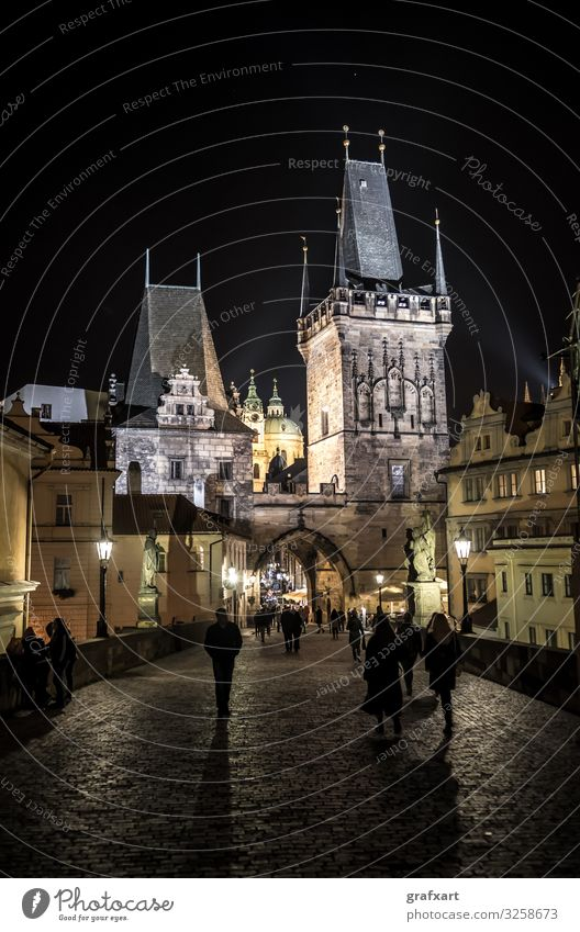 Charles Bridge and Old Town at night in Prague in the Czech Republic Architecture Building Hradcany Light Malá Strana The Moldau Night Old town Portal Shadow