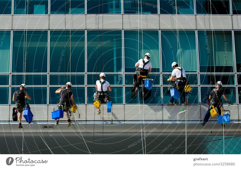 Team Of Climbing Workers On Office Building alpinism building business city clean cleaning climb climber danger dangerous efficiency equipment extreme facade