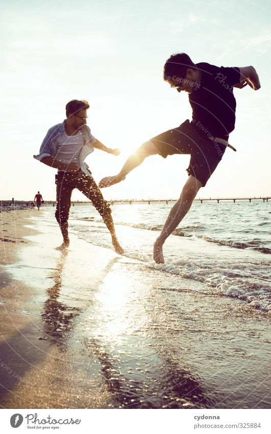 Human being Nature Youth (Young adults) Vacation & Travel Summer Ocean Joy Landscape Beach Adults Young man Life Movement 18 - 30 years Freedom Jump