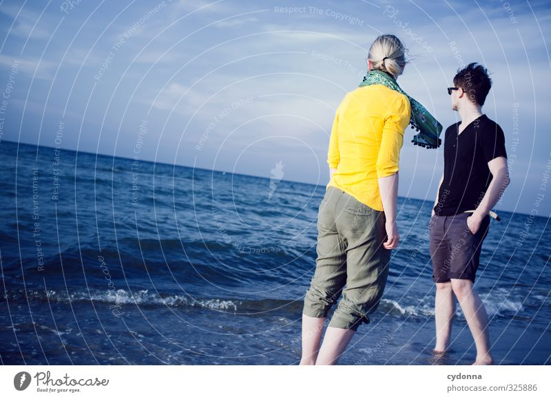 Human being Nature Youth (Young adults) Vacation & Travel Summer Ocean Landscape Relaxation Calm Beach Young woman Adults Young man Life 18 - 30 years Freedom