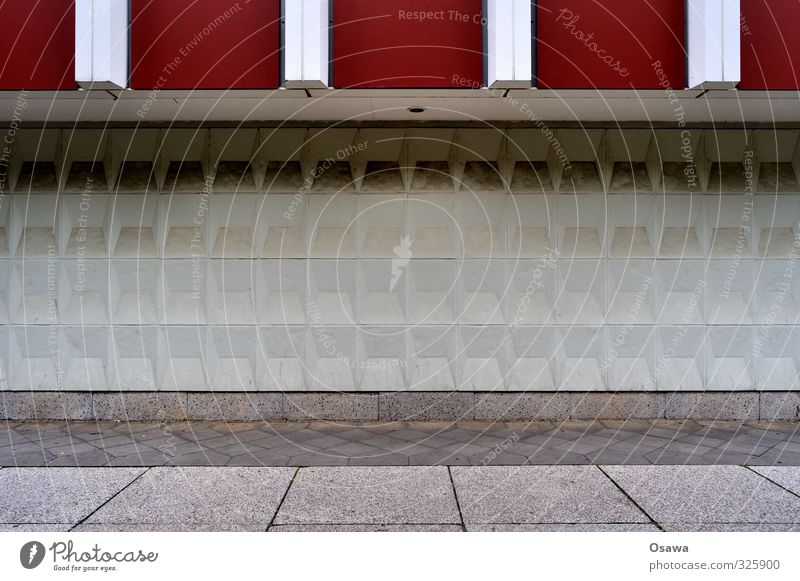 pattern strip Building Pattern Stripe Structures and shapes Relief Concrete Stone Facade Paving stone Cobblestones Graphic Day White Gray Red Berlin
