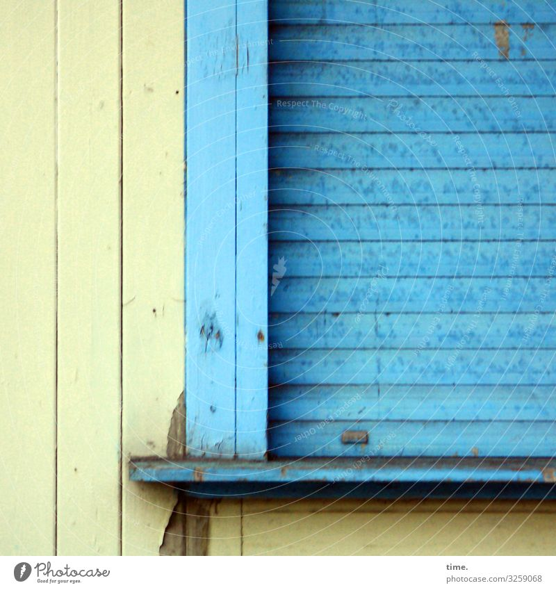 Fiction & Truth Wood Wooden facade Roller blind Kiosk Closed locked tight too Blue Yellow booths Trashy Old Flake off Varnish blotch blotchy board Rack
