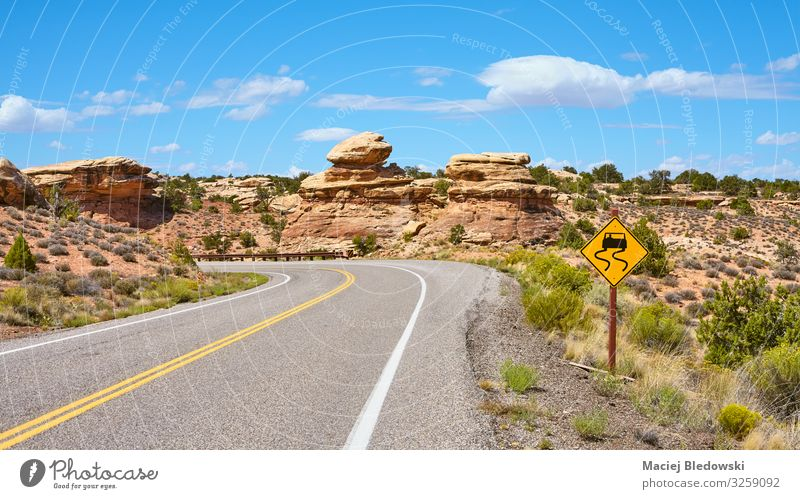 Scenic road on a sunny summer day. Vacation & Travel Tourism Trip Adventure Far-off places Freedom Expedition Cycling tour Summer Nature Landscape Sky Rock