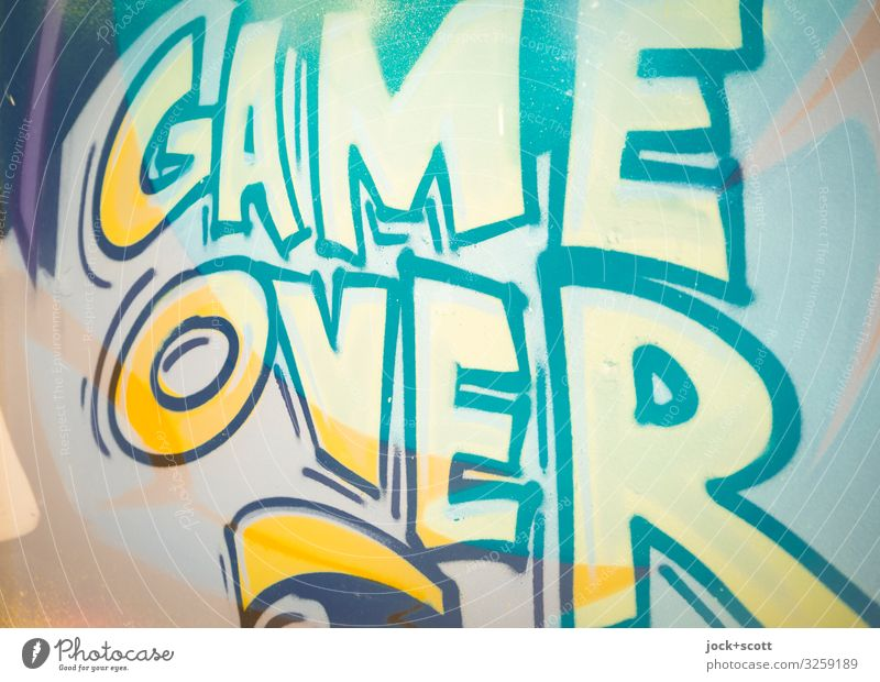 game over Style Street art Wall (building) Graffiti Word English Capital letter Typography Cool (slang) great Yellow Moody Passion Honest End Creativity Fiasco