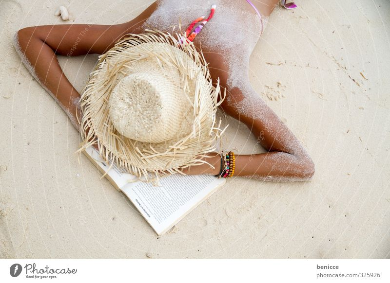 powernapping Woman Human being Lie Beach Feminine Book Reading Sleep Summer Warmth heat wave Sun Sunhat Straw hat Fatigue Exhaustion Vacation & Travel