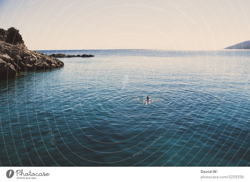 Man swims in the sea floats Swimming & Bathing ocean Ocean Vacation & Travel Blue Summer Colour photo Water Coast Relaxation Far-off places by oneself vacation