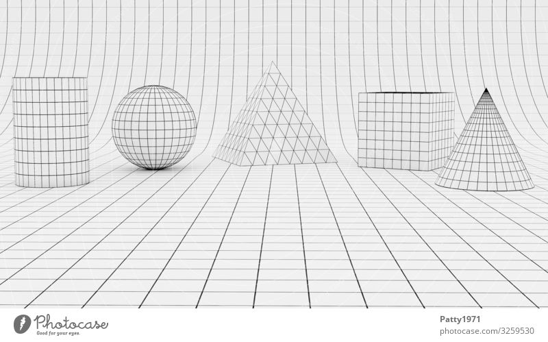 Wireframe geometric forms - 3D Render Science & Research Geometry Cube Sphere Pyramid Cylinder Conical Wire mesh Surface structure Sharp-edged Design Complex