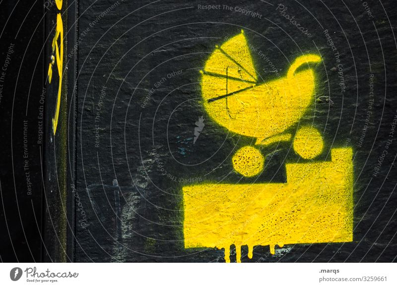 Black Graffiti Yellow Family & Relations Stairs Baby Sign Safety Barrier Baby carriage Newborn