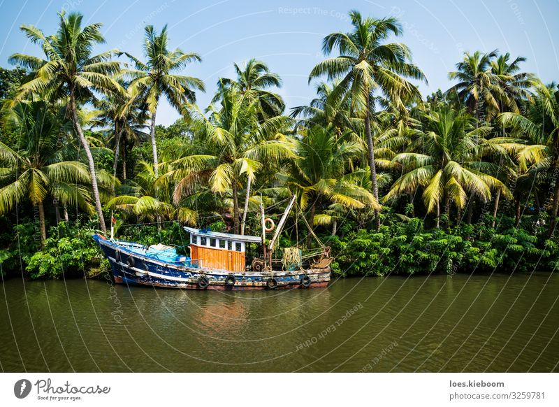 Old ocean fishing boat in the Kerala backwaters Vacation & Travel Tourism Trip Adventure Far-off places Sightseeing Cruise Summer Beach Nature Plant Water