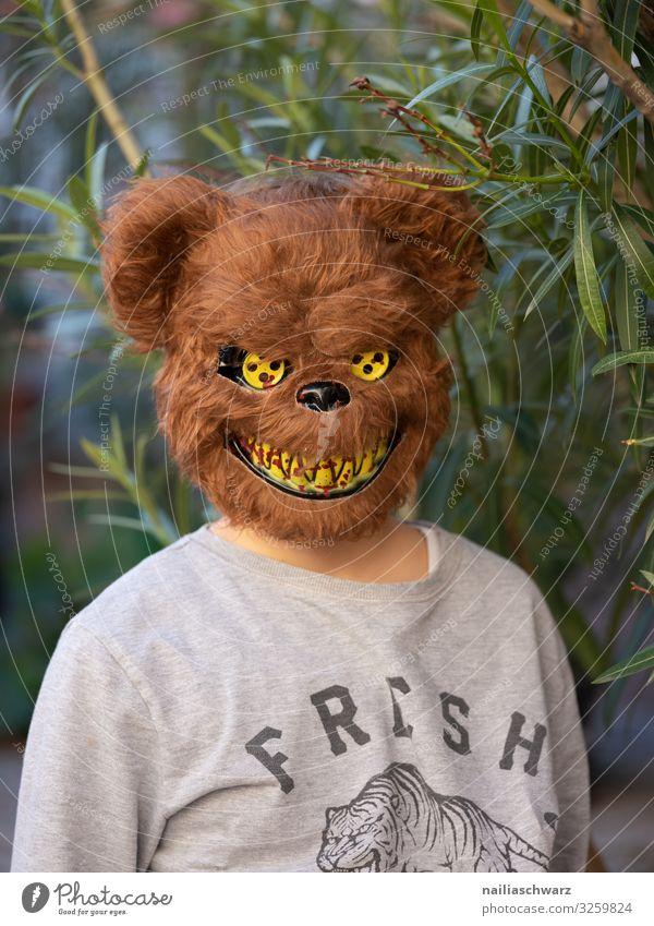 bear Human being Masculine Child Boy (child) 1 8 - 13 years Infancy Plant Tree Leaf Foliage plant Fashion T-shirt Accessory Mask Masked ball Bear Bear Mask