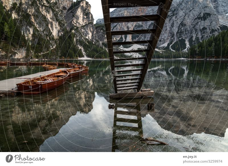 water shortage Vacation & Travel Tourism Trip Adventure Mountain Environment Nature Landscape Autumn Alps Lakeside Pragser Wildsee Lake Italy South Tyrol