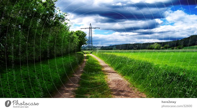 dirt road Grass Field Green Sky Lanes & trails Idyll Blue