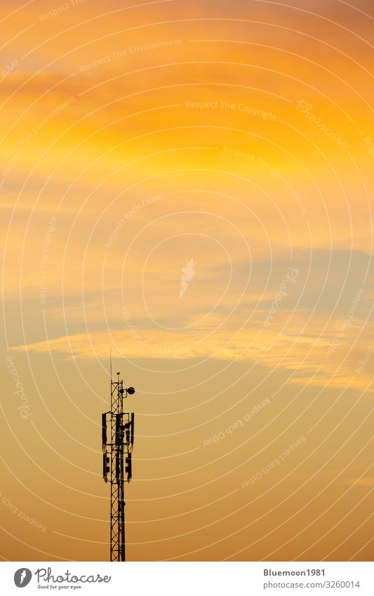 Communication antenna tower at dawn time with clouds Sky Town Beautiful Dish Clouds Far-off places Black Healthy Autumn Orange Bright Waves Growth Technology