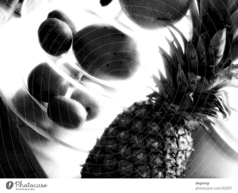 fresh fruit Kiwifruit Healthy Pineapple Apple Fruit Black & white photo