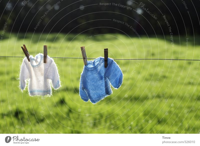 Blue Green White Meadow Small Garden 2 Baby Beautiful weather Fresh Clothing Cute Dry Clothesline Sweater