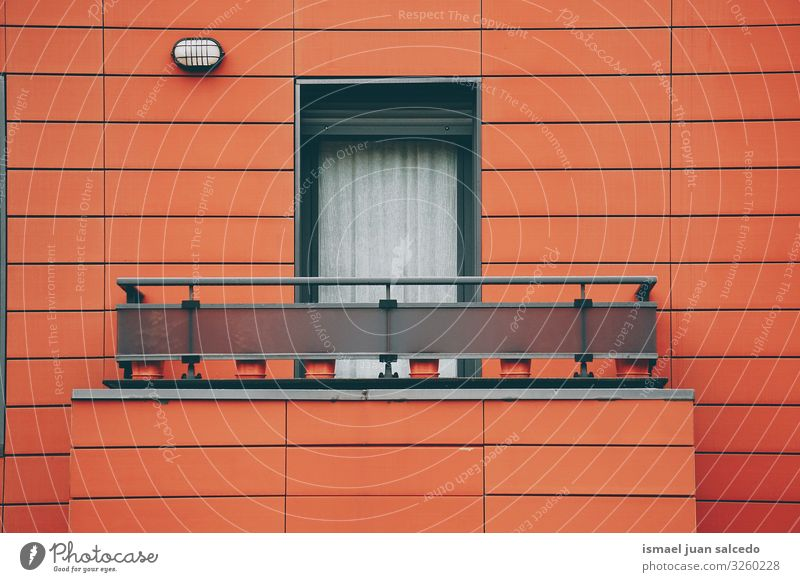 window on the red facade of the house in Bilbao city Spain Window Red Facade Building Exterior shot House (Residential Structure) Home Street City Colour