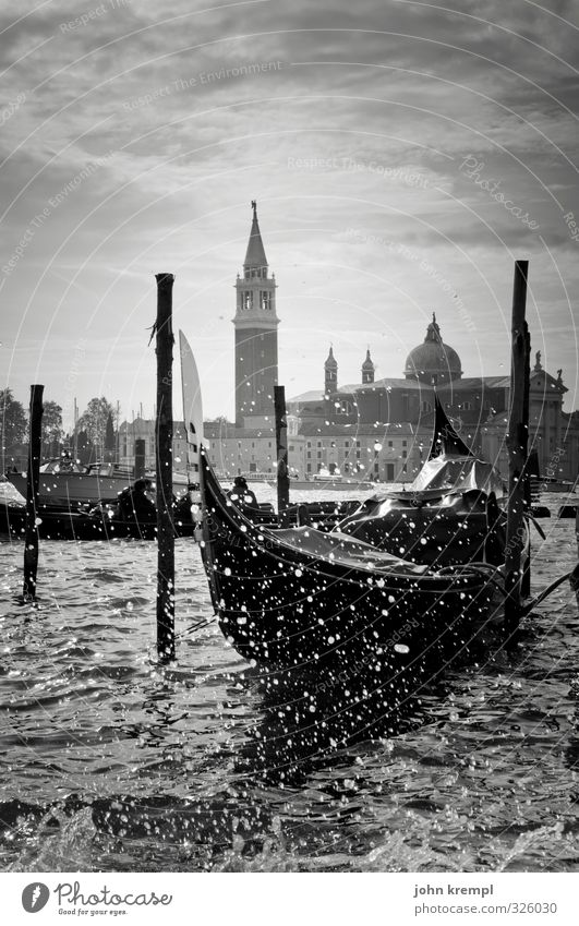 When the gondolas carry mourning Water Drops of water Waves Coast Venice Italy Port City Old town Church Building Tower Tourist Attraction Passenger ship