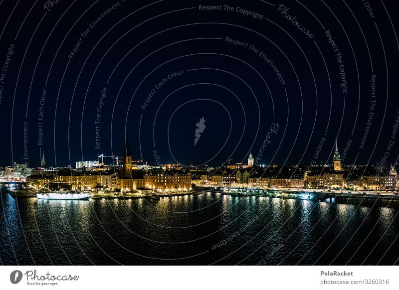 #S# View of Gamla Stan Town Capital city Port City Exceptional Stockholm Water Watercraft Sweden Night Stars Light Versatile Uniqueness Night shot Colour photo
