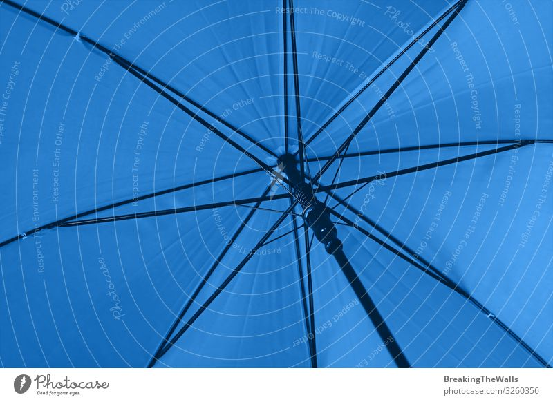 Close up blue umbrella low angle view Sun Climate Climate change Weather Bad weather Rain Accessory Under Blue Protection Colour Perspective teal Low