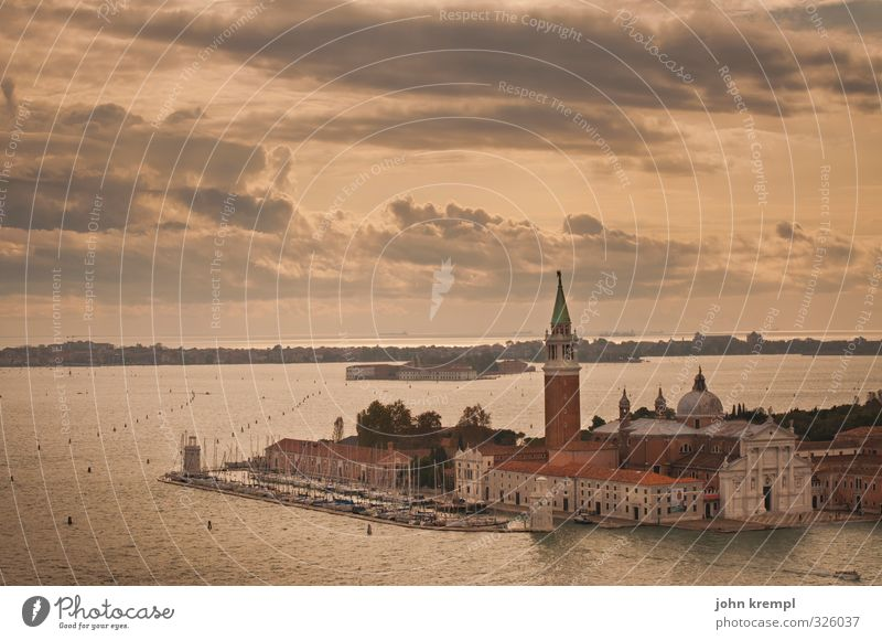 House by the sea Environment Landscape Water Clouds Coast Ocean Island Venice Port City Downtown Old town Church Dome Manmade structures Building Architecture