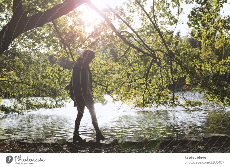 I gave up on everything Feminine Androgynous Homosexual Sun Sunlight Weather Tree Wild plant Lakeside Pond Beautiful Uniqueness Contentment Romance