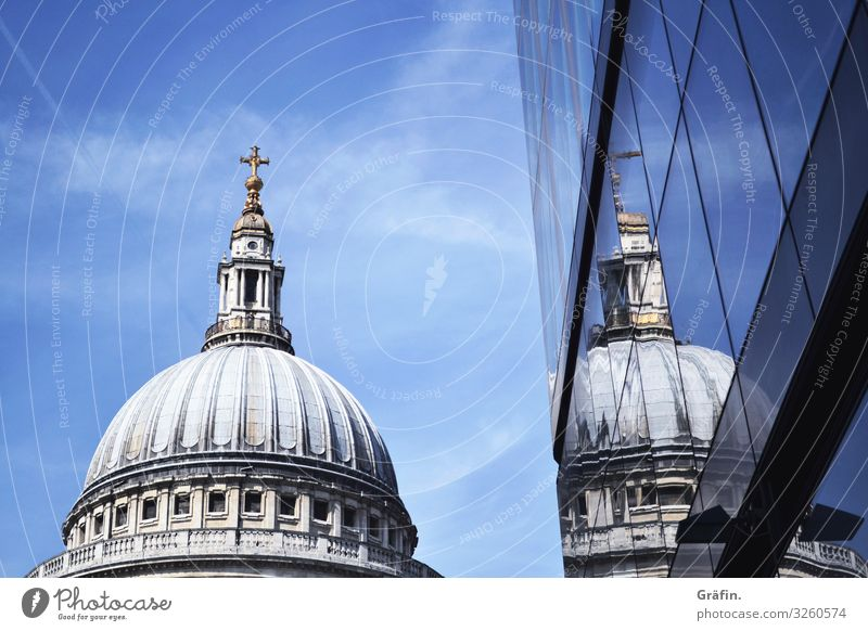 Double St Pauls Cathedral Church house of God Tourist Attraction London reflection Reflection Sightseeing City trip Architecture architectural photography Blue