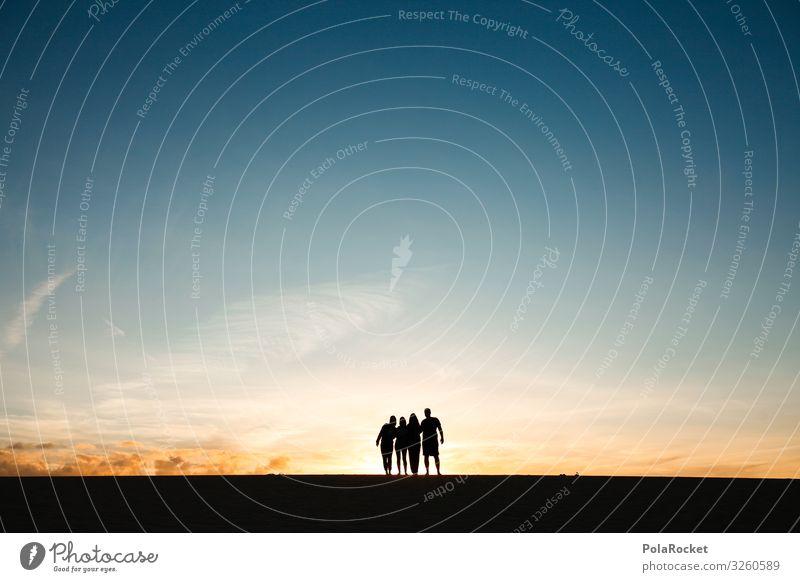 #A0## together Art Esthetic Horizon Friendship Silhouette Sunset Adventure 4 Graphic Colour photo Subdued colour Exterior shot Experimental Copy Space left