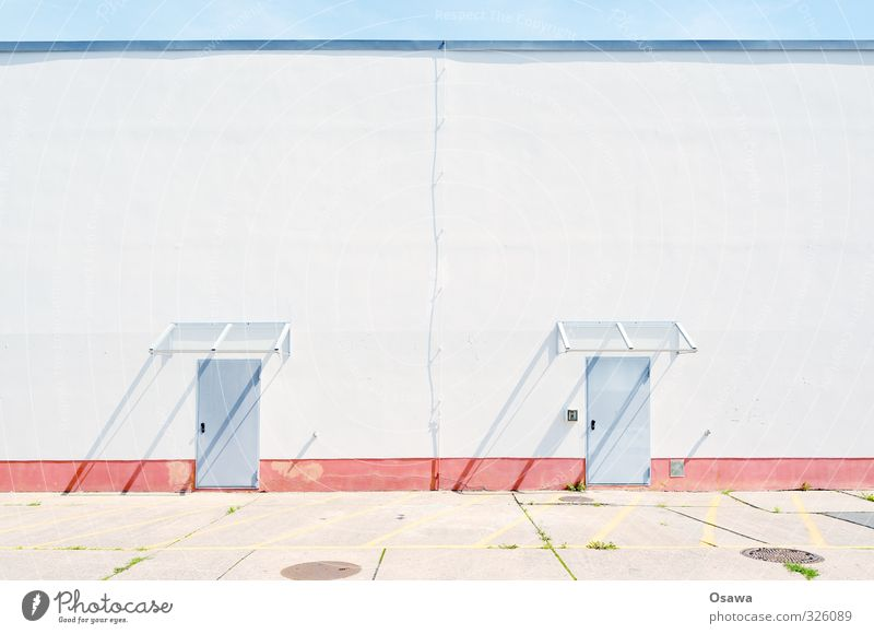 Blue White Red Wall (building) Architecture Building Gray Bright Door Concrete Copy Space Plaster Warehouse Hall Backyard Symmetry
