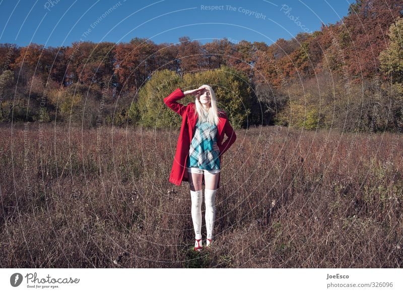 #326096 Freedom Woman Adults Life 1 Human being Nature Landscape Sky Meadow Field Forest Fashion Dress Stockings Blonde Discover Stand Exceptional Dark Positive