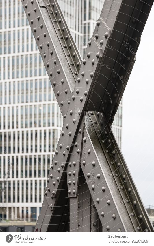 large X Harbor city Hamburg Town High-rise Bridge Steel carrier Bridge construction Facade Window Stand Carrying Sharp-edged Cold Strong Gray Disciplined