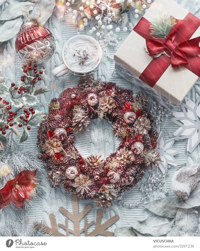 Domestic Christmas Composing Style Design Joy Winter Living or residing Christmas & Advent Decoration Bow Ornament Tradition christmas wreath Cappuccino