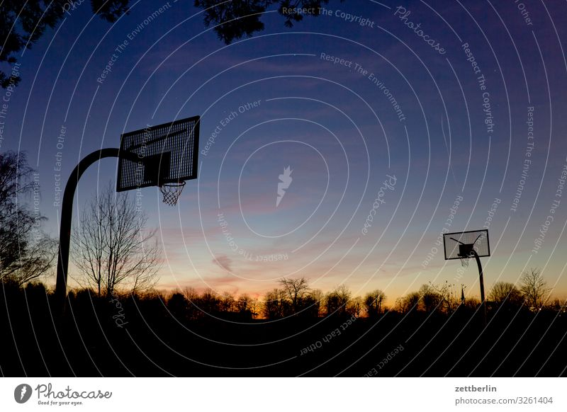 Basketball in the evening Ball sports Basketball basket Deserted Playing Playing field Copy Space Evening Dark Twilight Sky Heaven Horizon Berlin steglitz