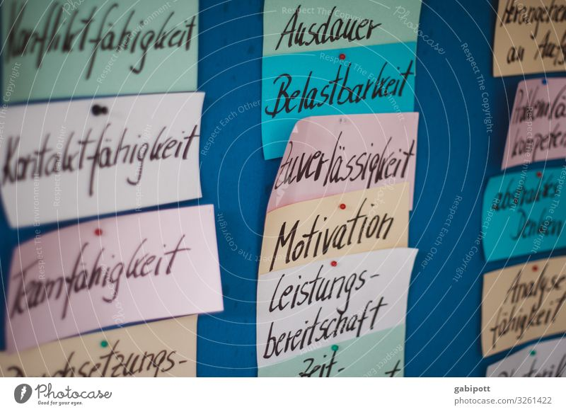 German values Paper Piece of paper Characters Signs and labeling Shield Multicoloured Planning Team Teamwork Value Know Endurance Robust Dependability Motive